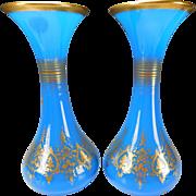 Antique Baccarat Napeoleon Empire Blue Opaline Glass Gilt Vases Pair