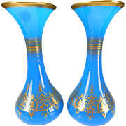 Antique Baccarat Napeoleon Empire Blue Opaline Glass Gilt Vases Pair