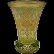 Antique Bohemian Moser Vaseline Uranium Enamel Glass Beaker Vase