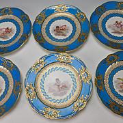 Antique 19c Sevres Style Celeste Blue Hand Painted Angel Cherub Portrait Plate Set