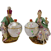 Antique Meissen Porcelain Turkish Figurines with Bowls Pair c1870 German China