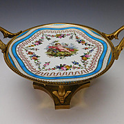 Fabulous Napoleonic Empire Gilt Bronze Hand Painted Porcelain Plate Compote Stand