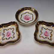 Antique 19c Sevres Style Jeweled and Hand Painted Cherub Angel Plate and Bowl Set