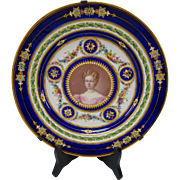 Antique Sevres Style Porcelain Jeweled Hand Painted Portrait Plate Limoges