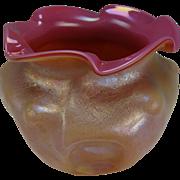 Antique Kralik Opalglas Opaline Pink Cased Iridescent Glass Vase