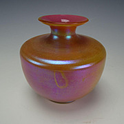 Antique Kralik Opalglas Opaline Cased Pink Iridescent Glass Vase