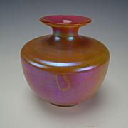 Antique Kralik Opalglas Opaline Cased Pink Iridescent Glass Vase