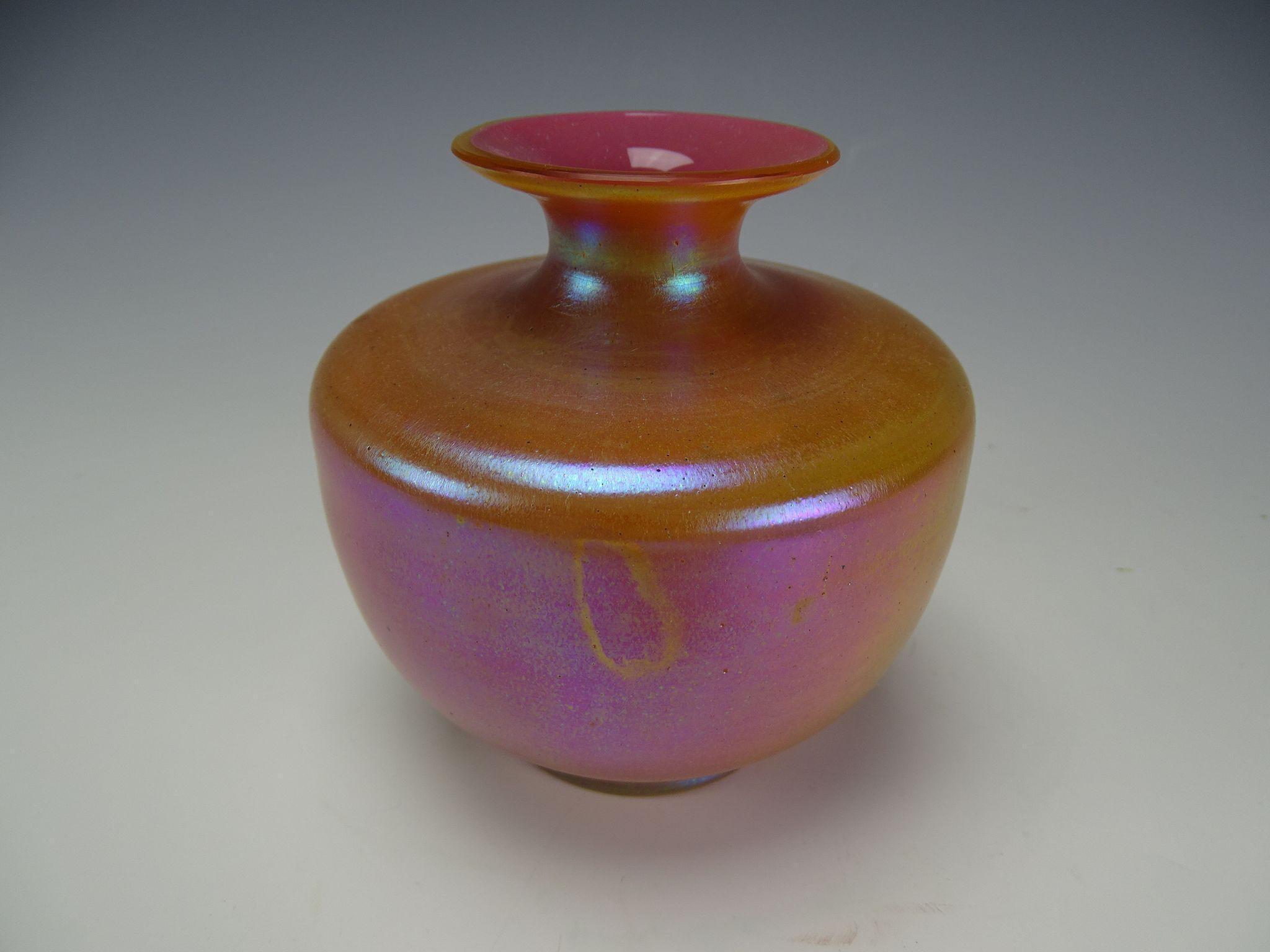 Antique Kralik Opalglas Opaline Cased Pink Iridescent ... Opaline Ruffled Glass Pink Vase