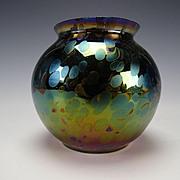 Antique Rindskopf Oil Spot Iridescent Glass Ball Vase