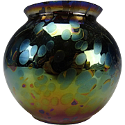 Antique Rindskopf Oil Spot Iridescent Glass Ball Vase
