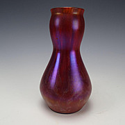 Antique Franz Welz Purple Iridescent Red/Orange Glass Vase c1905