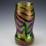 Antique Kralik Iridescent Threads Feathered Glass Vase