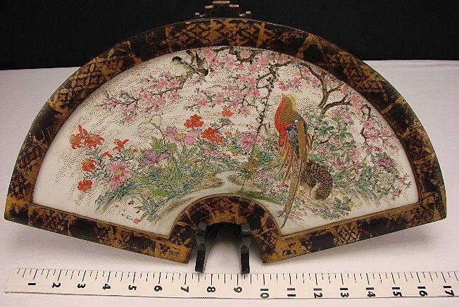 "Antique Japanese Meiji Enamel Porcelain Hanging Fan Wall Plaque Plate 17"" Signed 18c/19c"