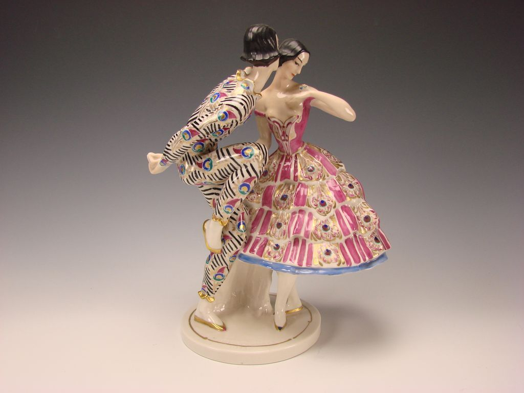 Art Deco c1913 Claire Volkhart Schwarzburger Werkstätten German Porcelain Dancers Figurine Group