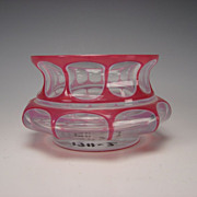 Antique Bohemian HOT Pink Cased Overlay Glass Vase/Bowl