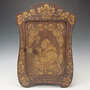 Antique Flemish Art Burnt Wood Cabinet Vanity Chest Box