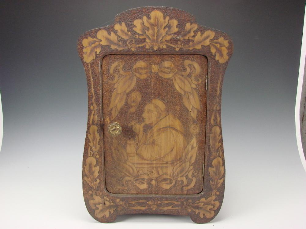 Antique Flemish Art Burnt Wood Cabinet Box