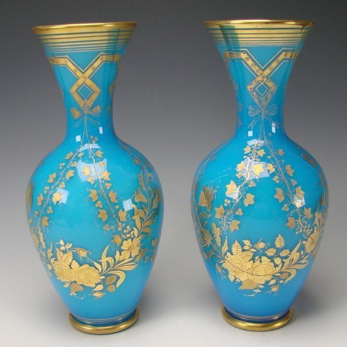 Antique Baccarat French Glass Blue Opaline Elegant Gilt Vases