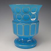 Antique Bohemian French Blue Opaline Art Glass Vase