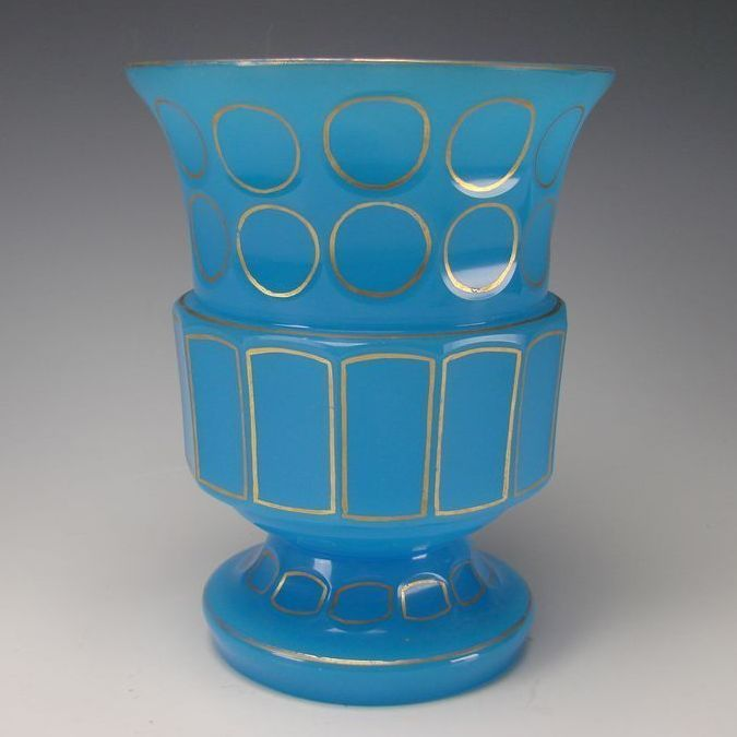 Antique Bohemian French Blue Opaline Art Glass Vase
