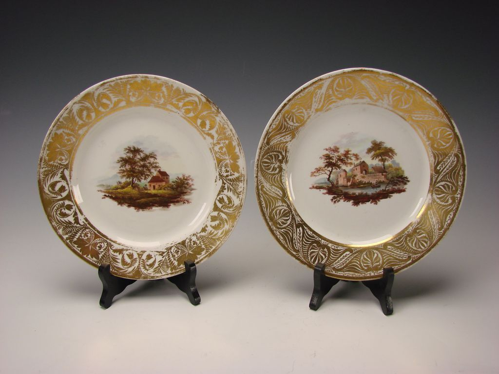 Antique English Derby China Enamel Hand Painted Scenic Porcelain Plates c1810