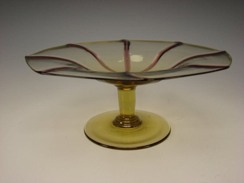 Antique Murano Seguso Glass Amethyst Striped Compote Stand