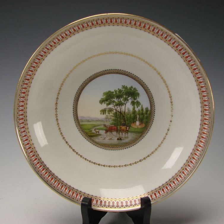 Antique Meissen German Porcelain Portrait Hand Painted Scenic Plate Bowl c1790