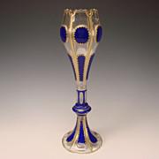 "15"" Antique Bohemian Clear Cobalt Paneled Cased Glass Vase c1865"