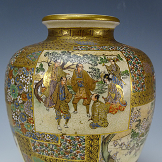 Antique Japanese Meiji Pottery Satsuma Enamel and Painted Vase