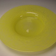 "Vintage California Studio or Italian Murano Yellow Art Glass 16"" Centerpiece Charger Glass Bowl BIG"