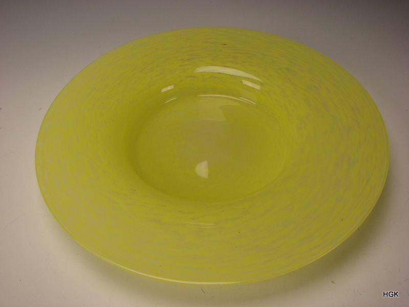 "HUGE California Studio Rina Fehrensen Yellow Art Glass 16"" Centerpiece Charger Glass Bowl"