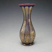 AWESOME 19c French St Louis Latticino Rim Elegant Gilt Glass Vase