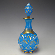 RARE 19c Baccarat French Artichoke Gilt Blue Opaline Glass Perfume Bottle