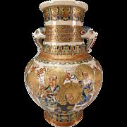 Huge Antique Meiji Satsuma Gosu Blue Japanese Pottery Vase