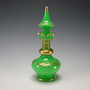 Antique Baccarat/St Louis Gilt Green Opaline Palais Royal Scent Perfume Bottle