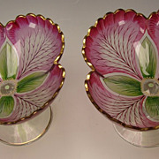 Fritz Heckert/Theresienthal Bohemian Stained Glass Compote Transparent Enamel Art Nouveau Pair