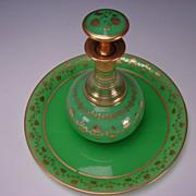 Antique Boston Sandwich Green Opaline Parcel Gilt Glass Tray Decanter Bottle Drink Set 19c
