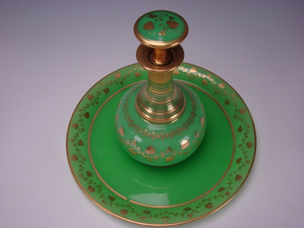 Antique Boston Sandwich Green Opaline Parcel Gilt Glass Tray Decanter Bottle Drink Set 19c