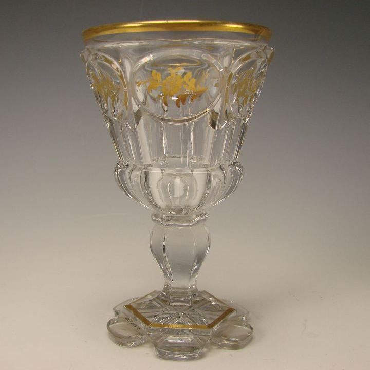 Antique 19c North Bohemian Crystal Cut Wine Elegant Gilt Wine Glass Stem