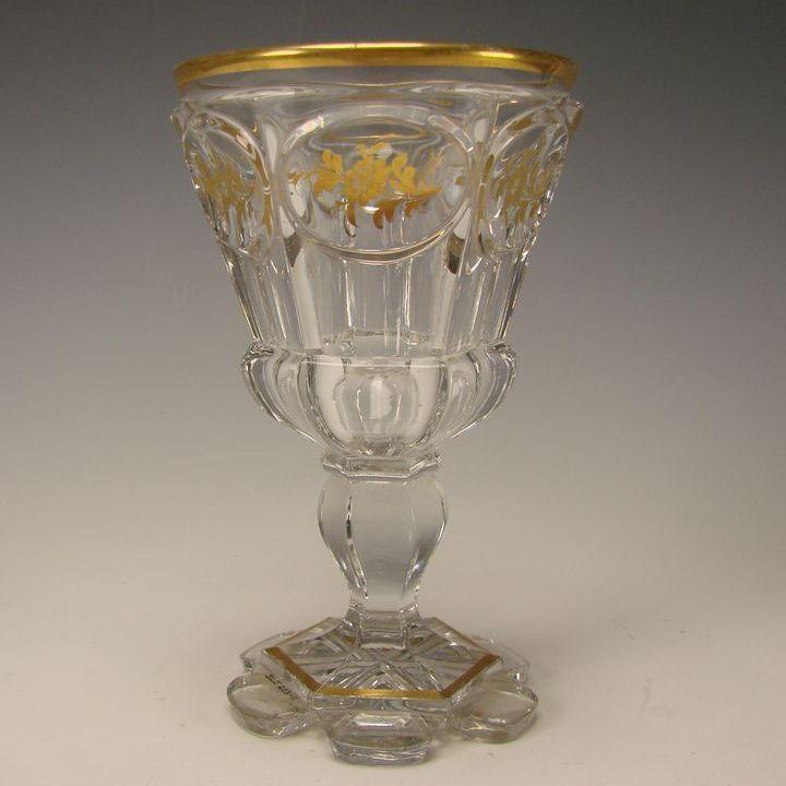 Antique 19c North Bohemian Crystal Cut Wine Elegant Gilt Wine Glass Stem