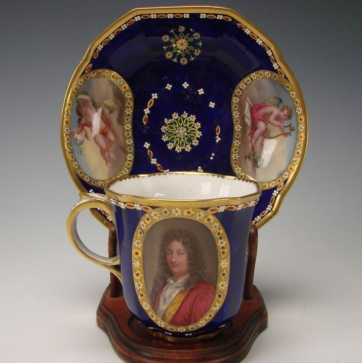 Antique Early French Jeweled Limoges Porcelain Hand Painted Portrait Cup and Saucer
