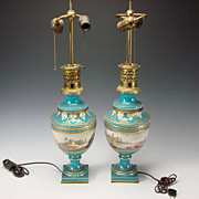 Antique French Porcelain Lamps Sevres Blue Period with Bronze Mounts