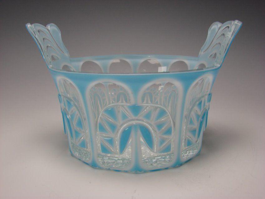 Antique South Bohemian Triple Cased Overlay Cut Glass Wine Bowl Vase c1865