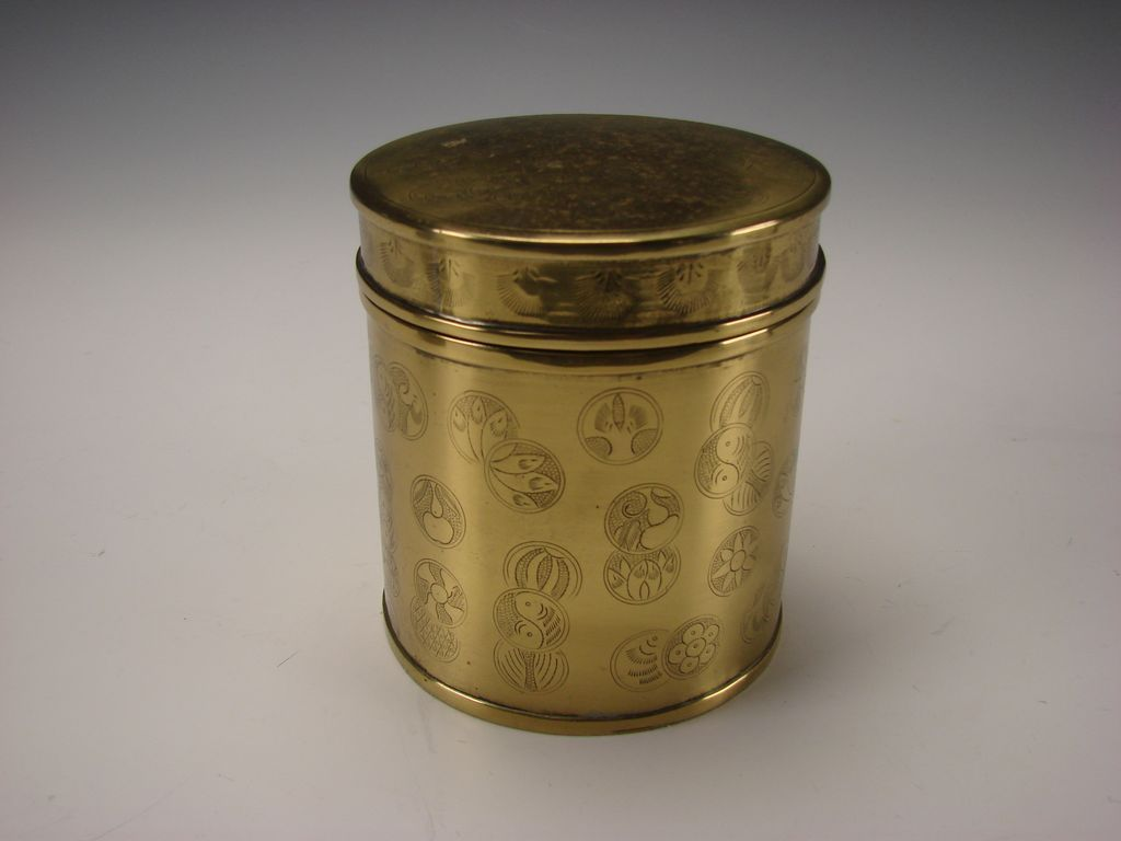 Antique Japanese Or Indian Solid Brass Round Jar Box