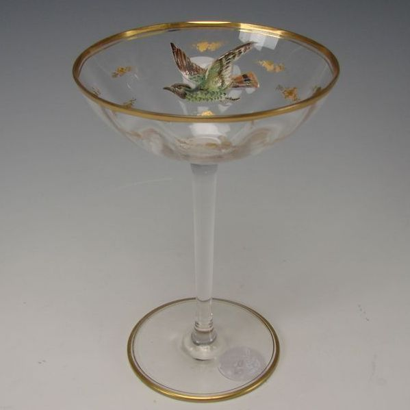 Antique Bohemian MOSER Raised Enamel Bird Eagle Falcon Wine Glass Stem Tazza Compote