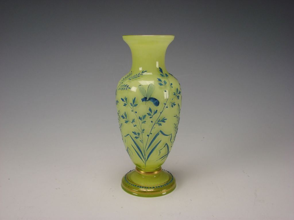 Antique French Galle Enamel Citron Vaseline Glass Vase