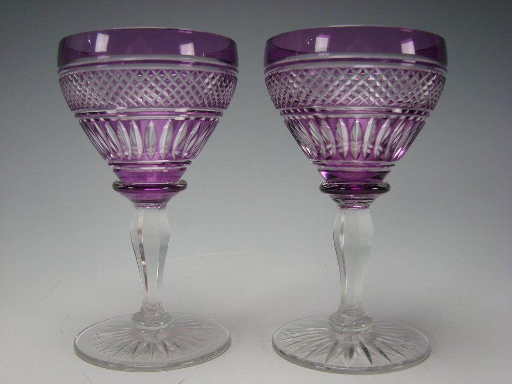 Antique Val St Lambert Amethyst Overlay Cut to Clear Glass Wine Stems