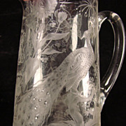 Antique Boston Sandwich Cut and Engraved Glass Pitcher AMAZING