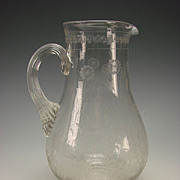 c1875 Bohemian Engraved Carved Glass Floral Water Pitcher Jug