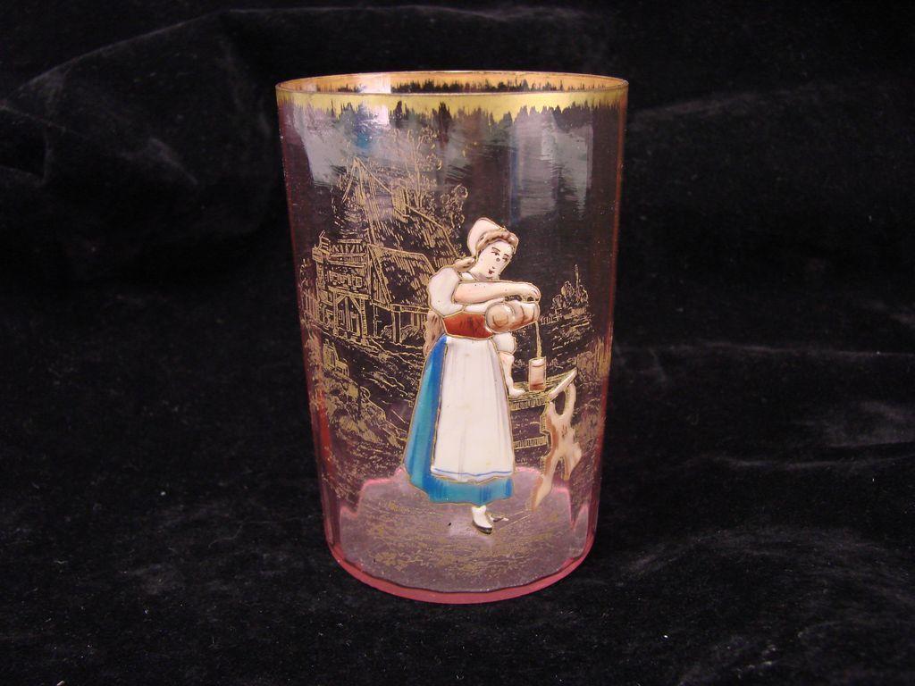 Antique Cranberry Rossler Bohemian Enamel Gilt Cameo Glass Tumbler Vase Cup